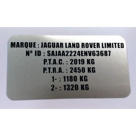 Plaque constructeur Jaguar