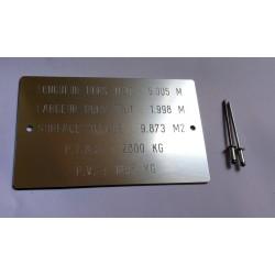 Plaque de tare aluminium