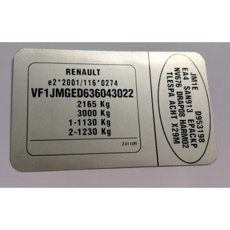 Plaque constructeur Renault