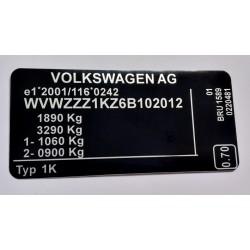 Plaque constructeur Volkswagen