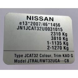 Plaque constructeur Nissan