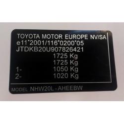 Plaque constructeur Toyota