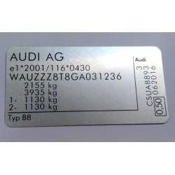 Plaque constructeur Audi