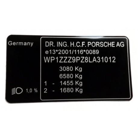 Plaque constructeur Porsche