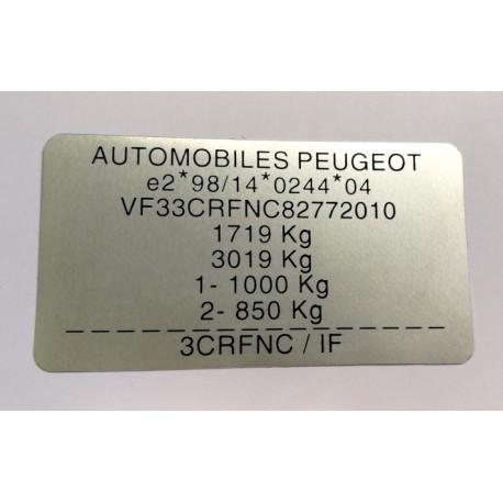 Plaque constructeur Peugeot