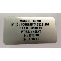 Plaque constructeur Dodge